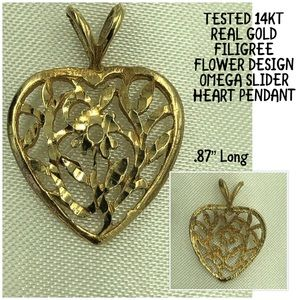 Jewelry - Tested 14KT Gold Filigree Heart Shape Pendant .87""